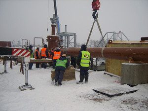 Construction of an oil and gas pipeline. industrial equipment.