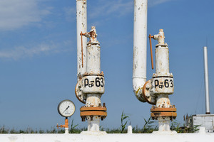 The equipment in the oil fields. pipes