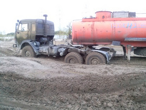 Truck stuck in the mud. off-road.