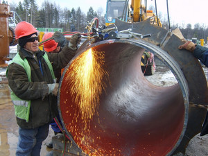 Welding seam on the pipeline. technology of welding connections.