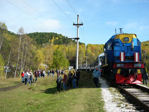 Passenger train. a stop in the woods of eastern siberia