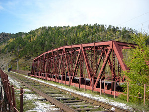 The bridge for the train. a stthe bridge for the train. a stop in the woods of eastern siberiaop in the woods of eastern siberia
