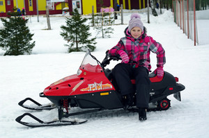 Riding a snowmobile