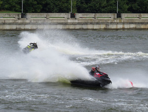 Racing on water scooters