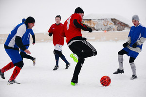 Playing football in winter
