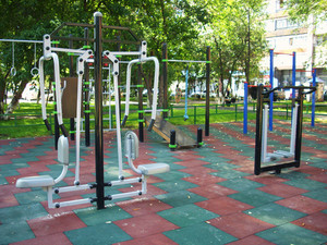 Yard area with exercise machines and horizontal bars