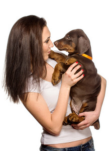 Brunette girl looking to her puppy isolated on white background