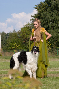 The woman in a beautiful old style dress with borzoi dogs