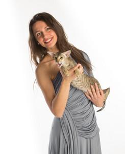 Pretty girl in night dress with cat