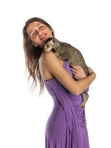 Pretty girl in night dress with cat
