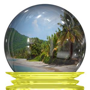 Tropical Beach Snow Globe
