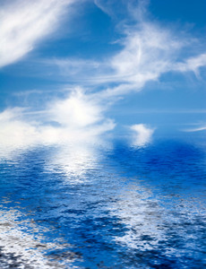 Blue Clouds Ocean Reflection