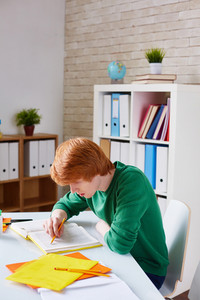 Clever Guy Reading Information For Seminar In Encyclopaedia