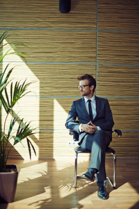Elegant Businessman Sitting On Chair