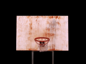 A basketball hoop isolated over black  - includes clipping path.