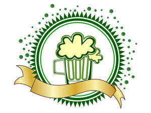 A Beautiful Batch With Beer Mug And A Ribbon. Vector
