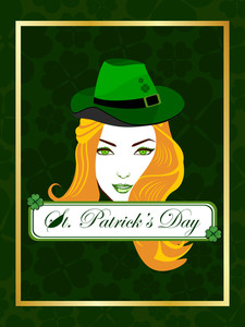 A Beautiful Girl Is On The Batch Of St. Patrick's Day. Vector