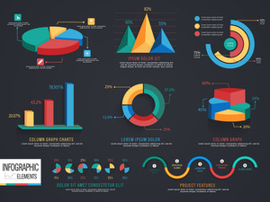 A big set of 3D colorful infographic elements for your business reports and financial growth presentation.