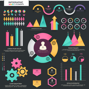 A big set of colorful infographic elements including statistical arrows