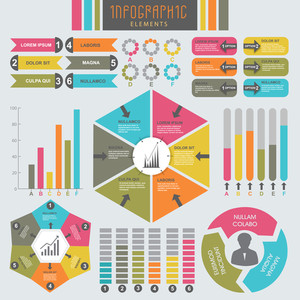 A big set of different colorful statistical infographic elements for business reports and data presentation.