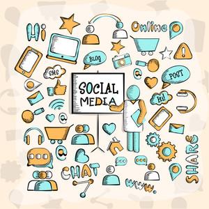 A big set of various creative social media icons