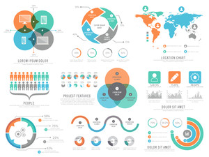 A big set of various infographic elements including statistical graphs