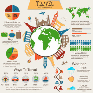 A big set of various infographic graphs and charts with illustration of famous monuments on globe for tour and travels business concept.