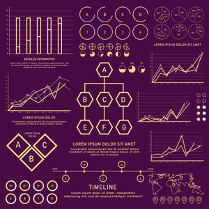 A big set of various statistical infographic elements for your business reports and financial data presentation.