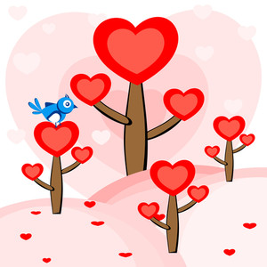 A Bird Sitting On The Heart Tree. Vector.