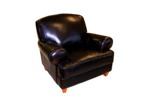A black leather armchair isolated over white - clipping path included