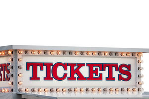 A carnival ticket booth sign isolated over white.  File includes the clipping path for quick and easy isolation.