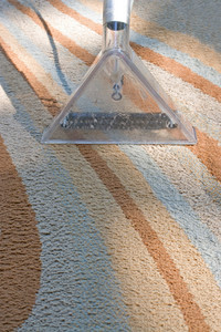 A carpet cleaner in action on a contemporary rug.