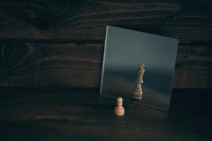 A chess piece looks at itself in the mirror.