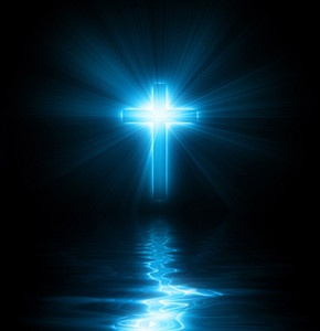 A christian cross with blue glowing lights and reflections