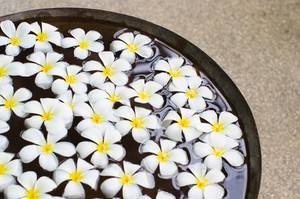 A close up shot of decorative flowers floating on water surface.