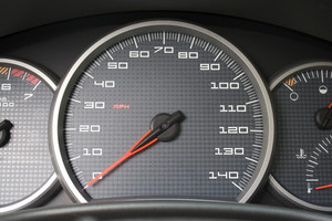 A closeup of a modern car interior - the dashboard. This is the drivers cockpit.