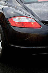 A closeup of the rear tail light on a modern sports car.