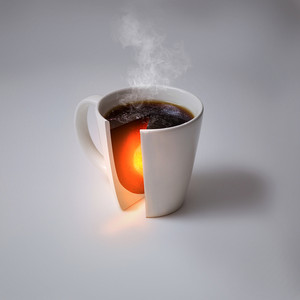 A coffee cup with the heat of the earth's core inside.