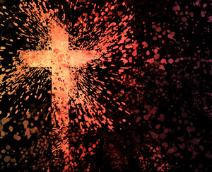 A colorful image of a grunge cross shape