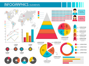 A complete colorful infographics elements set for your business presentation and reports.