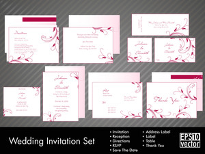 A Complete Wedding Invitation Kit With Beautiful And Elegant Abstract Floral Design With Colorful Tree Leaves Pattern On Bright Yellow Background 10