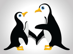 A Couple Of Penguine For Valentine's Day And  Other Occasion On Isolated Background.