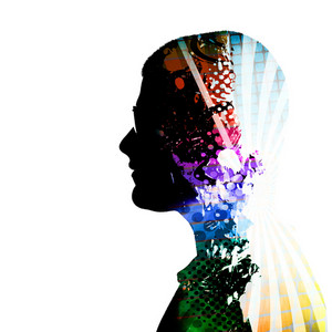 A creative montage of a side profile silhouette of a man wearing glasses and colorful artistic accents inside of his mind and body.