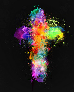 A cross shape made out of paint splatters