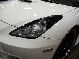 a detail shot of a sports car headlight