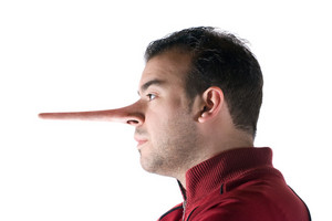 A dishonest man has a nose that grew long when he lied just like in the story of Pinocchio.