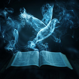 A dove flies out of the smoke from a Bible