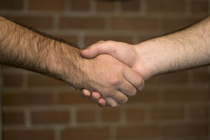 A firm handshake over a brick wall backdrop.
