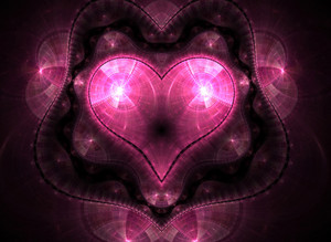 A fractal heart shape background with lots of copy space.