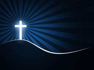 A glowing cross with sun beams